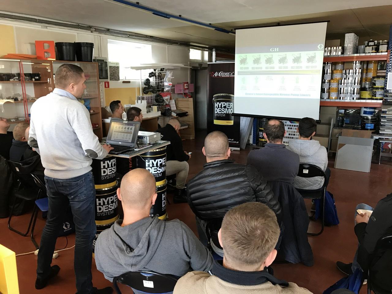 Szkolenie: natrysk membran Hyperdesmo agregatem Graco GH 933