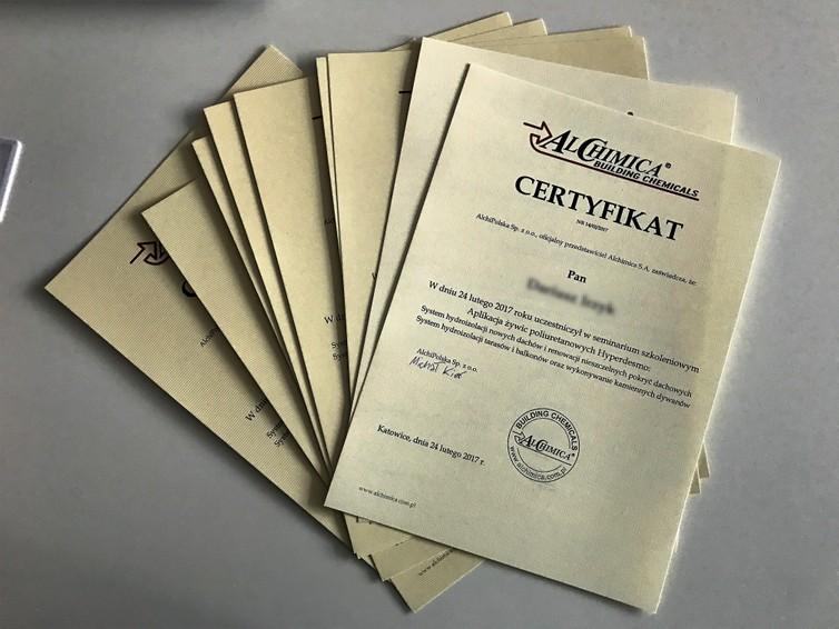 Certyfikat ukończenia szkolenia Alchimica Hyperdesmo