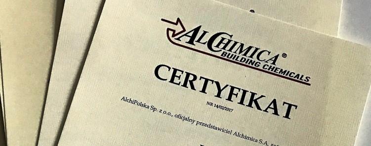 Certyfikat zakończenia szkolenia Alchimica