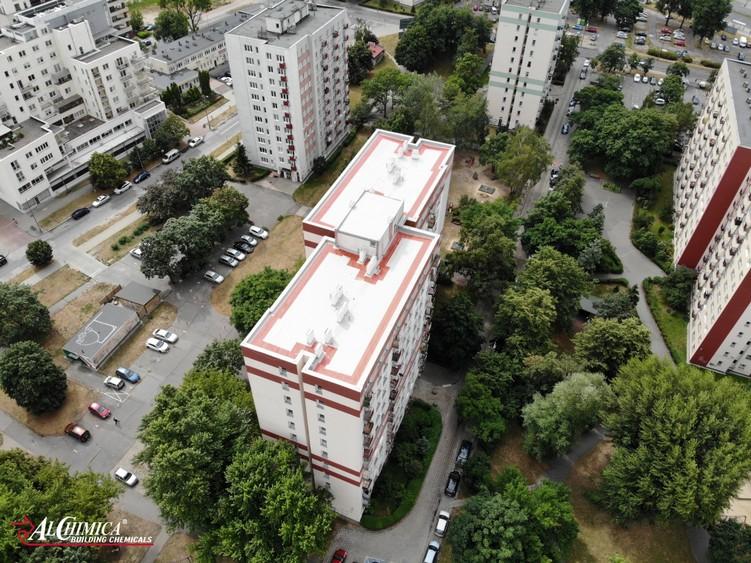 Dach z papy po renowacji w systemie żywic poliuretanowych Hyperdesmo