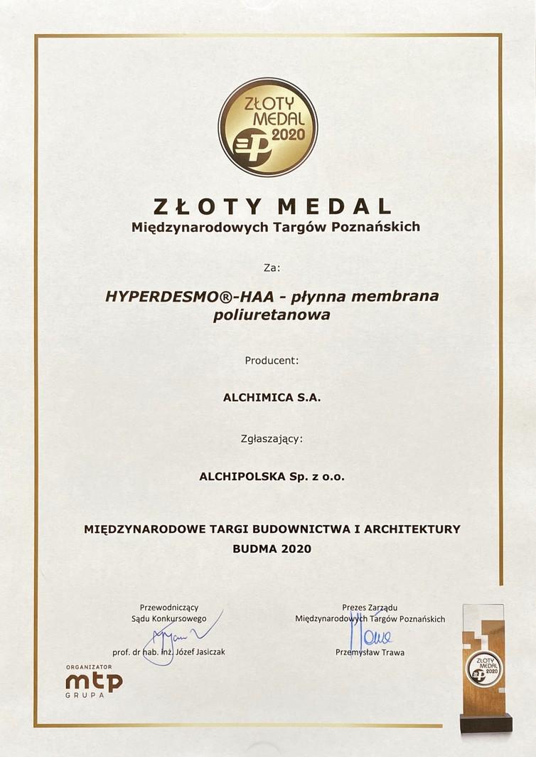 Złoty Medal Międzynarodowych Targów Poznańskich dla Hyperdesmo HAA